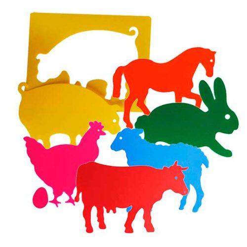 Plantilla animales de granja translúcidos